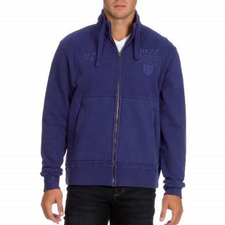 Gilet zippé en molleton bleu sans capuche pour homme.