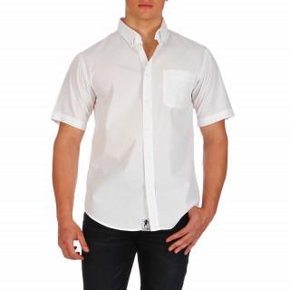 Chemise unie blanche manches courtes 100% coton avec poche pour homme. Le logo Ruckfield,symbolisé par la silhouette de Sébastien Chabal, est brodé ton sur ton sur la poche.