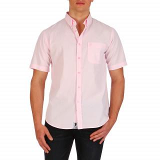 Chemise unie rose manches courtes 100% coton avec poche pour homme. Le logo Ruckfield,symbolisé par la silhouette de Sébastien Chabal, est brodé ton sur ton sur la poche.