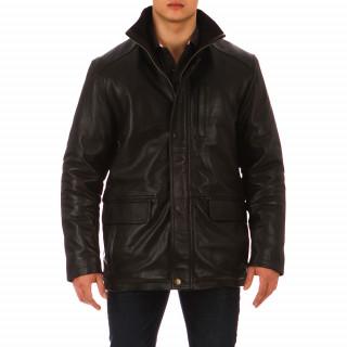 Blouson Ruckfield en cuir noir disponible en très grandes tailles, du 48 au 64