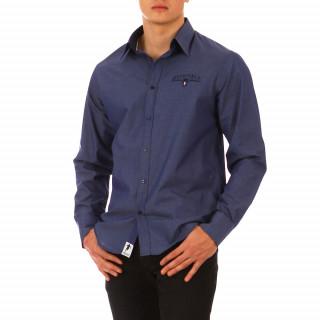 Chemise à manches longues bleue foncé en coton pour homme,