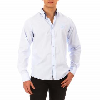 Chemise bleue à manches longues pour homme