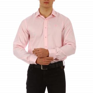 Chemise rose unie à manches longues pour homme
