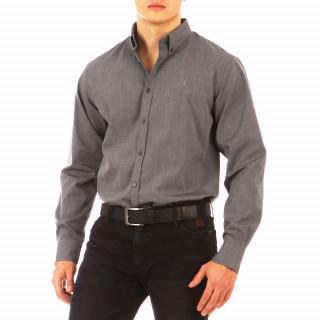 Chemise Ruckfield gris à manches longues pour homme. Chemise grande taille : 3XL, 4XL et 5XL !