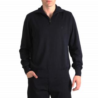 Pull col zippé bleu marine 100% Coton disponible du S au 5XL