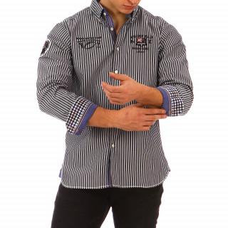 Chemise rayée Ruckfield gris foncé et bleu 100% Coton disponible du S au 4XL