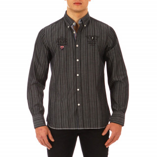 Chemise Ruckfield grise aux rayures noires 100% Coton disponible du S au 4XL