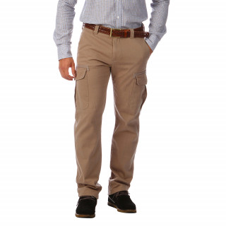 Pantalon battle en coton élasthanne, multi poches et broderie de Sébastien en signature.