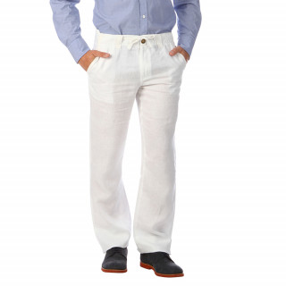 Pantalon en lin blanc. Disponible du 28 au 46.