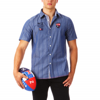 Disponible jusqu'au 5XL, chemise à manches courtes en 100% coton avec broderies poitrine et dos