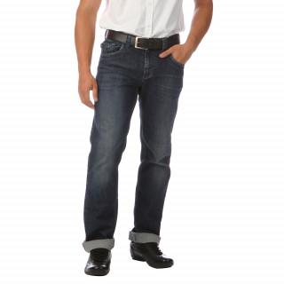 Jean en coton élasthanne 5 poches, coupe regular, drapeau France cousu au niveau de la braguette et broderie R en point cellier sur la poche arrière, jacron en cuir sur l'arrière.