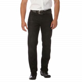 Jean noir en coton élasthanne avec 5 poches pour une coupe regular.