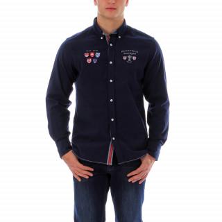 Chemise en velours bleu 100% coton. Logos brodés poitrine et dos Road to England. Disponible du S au 5 XL
