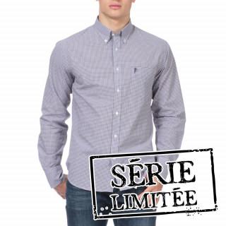 Chemise à motifs mini carreaux à manches longues pour homme.