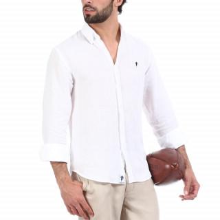 Chemise manches longues en lin Blanc avec logo brodé à la poitrine.
