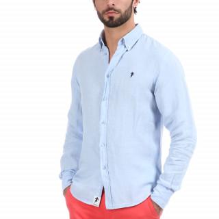 Chemise manches longues bleu ciel avec logo brodé poitrine