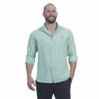 Chemise manches longues en pur lin vert clair avec logo brodé à la poitrine.