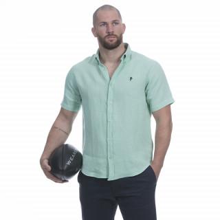 Chemise manches courtes en lin vert clair avec broderie poitrine