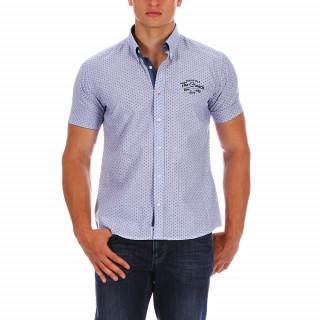 Chemise en coton lin à manches courtes avec patch imprimé aux couleurs de l'union jack au niveau du dos et broderie poitrine. Disponible du S au 5XL.
