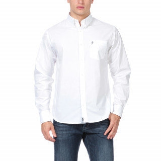 Chemise Essentiel rugby blanche en 100% coton, logo brodé sur poche poitrine.