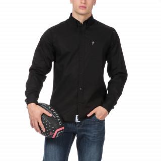 Chemise manches longues en coton noir.