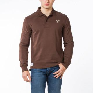 Polo rugby manches longues en coton jersey marron avec logo brodé poitrine  et matelassage épaules.