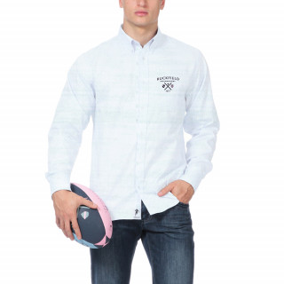 Chemise manches longues en coton bleu ciel avec logo brodé à la poitrine.