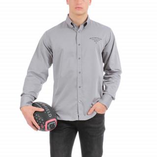 Chemise de ville à manches longues en coton gris avec fine broderie poitrine.