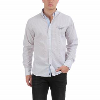Chemise manches longues à motifs tricolores en 100% pur coton. Col à pointes boutonnéesLogo brodé poitrine, base légèrement arrondie, fermeture par boutons Ruckfield.