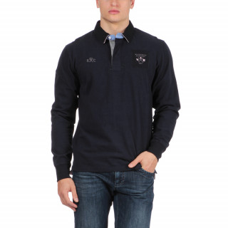 Polo en coton bleu marine avec logos brodés poitrine et dos.