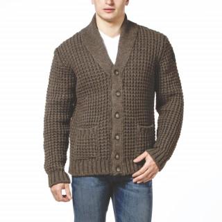 Cardigan en laine marron avec patch Rugby camp.