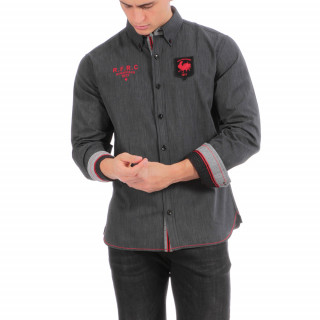 Chemise en coton grise avec logos et détails rouges rugby France
