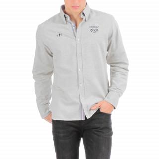 Chemise manches longues en flanelle grise avec broderie poitrine et dos.