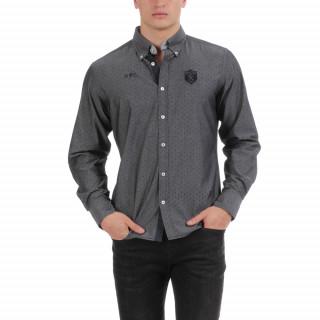Chemise manches longues en coton imprimé avec logos brodés.