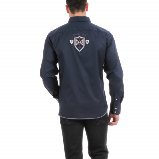 Chemise manches longues bleu Rugby