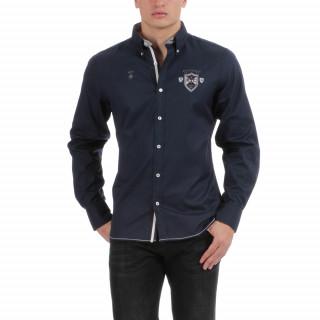 Chemise manches longues bleu marine avec logos brodés poitrine et dos.