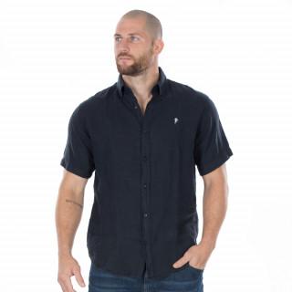 Chemise manches courtes en lin marine avec broderie poitrine