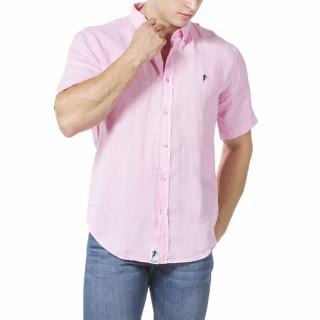 Chemise manches courtes en lin rose avec logo brodé sur poche poitrine.