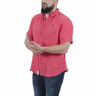 Chemise manches courtes fuchsia en lin avec broderie poitrine.