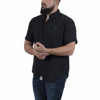 Chemise manches courtes en lin noir avec broderie poitrine