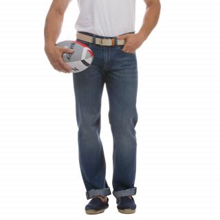 Jean le French 5 poches en coton élasthanne avec patch en cuir et galon tricolore.