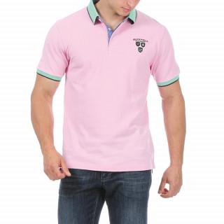 Polo en coton piqué rose avec rayures sur rib. Belle broderie poitrine.