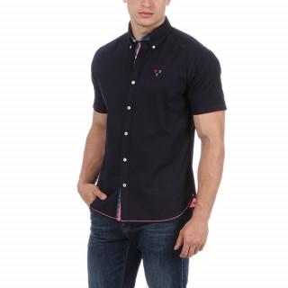 Chemise en manches courtes en coton bleu marine avec logo brodé poitrine et dos.