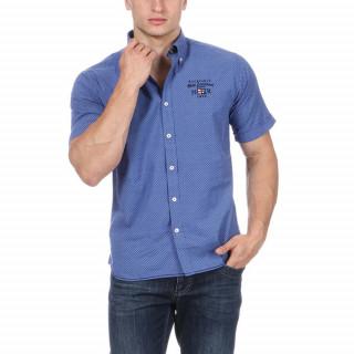 Chemise manches courtes bleu avec logos brodés Nouvelle Zélande poitrine et dos.