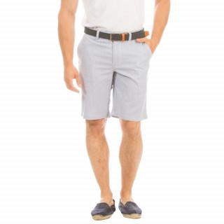 Bermuda ne coton élasthanne rayé bleu et blanc avec poche chino et broderie marine.