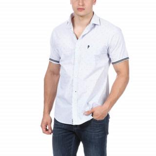 Chemise à motifs manches courtes en 100% coton avec broderie sur poche poitrine.