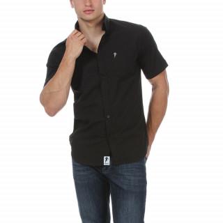 Chemise manches courtes Essentiel en coton noir avec logo brodé sur poche poitrine.