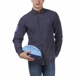 Chemise rugby bleu micro carreaux à manches longue avec broderies et coupe droite.