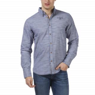 Chemise bleu chambray Le French avec tissus contrastés et coudières.