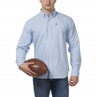Chemise Oxford bleu ciel à manches longues avec col pointes boutonnées et logo Ruckfield brodé sur la poche  poitrine